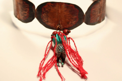 copper, glass, enamel, patina, thread