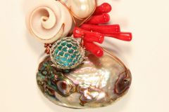 copper, shell, coral, pearl, abalone, glass