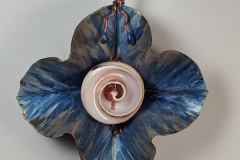 copper, nautilus, patina, enamel